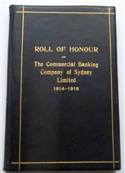 Sale 8639 - Lot 91 - Roll of Honour of The Commercial Banking Company Of Sydney Limited 1914-1918,  a memorial record of those who served and died in the...