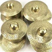 Sale 8699A - Lot 782 - Set of 8 Indian Brass Temple Gongs, diameter of largest 20cm