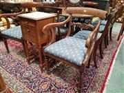 Sale 8774 - Lot 1039 - Set of Ten (10) Regency Simulated Rosewood Dining Chairs, in beech with painted grain, including two armchairs, having blue drop-in...