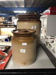 Sale 8797 - Lot 2454 - Bennetts Pottery Lidded Canister together with a Smaller Example (Height: 30 and 20cm)