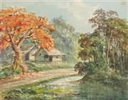 Sale 8932 - Lot 2086 - Roy Opie (1909 - 1968) Autumn in Yarra Valley watercolour, 23 x 26cm, signed -