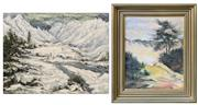 Sale 8961 - Lot 2081A - Artist Unknown (2 works) Mount Cook Ranges; Rotorua: Steaming Pools 1976 acrylics, 50 x 76cm; 42 x 52cm (frames)
