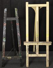 Sale 8984H - Lot 353 - A pair of timber artists easels in cream and black. Larger 184cm height.
