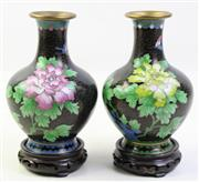 Sale 8997A - Lot 654 - Pair of Cloisonne bud vases on timber stands (total height 18cm)
