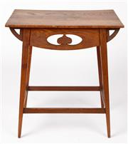 Sale 9048A - Lot 57 - Art Nouveau Oak Side Table with pierced heart motifs and support stretcher (h:68 x w:61 x d:41cm) Purchased 30 May 1977