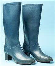Sale 9090F - Lot 64 - A PAIR HIGH HEEL RAIN BOOTS; mid blue, hand made Nokia Finland, size 38.