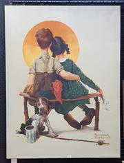 Sale 9077 - Lot 2018 - Norman Rockwell Two Children & Dog acrylic on canvas, 101.5 x 76 cm, signed lower right