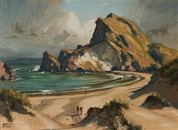 Sale 9109 - Lot 594 - Leslie Alfred Campbell (1925 - ) Bathers on the Beach , Anaura Bay, NZ oil on board 45 x 59.5 cm (frame: 66 x 81 x 3 cm) signed lowe...