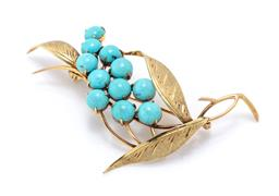 Sale 9221 - Lot 371 - A VINTAGE 14CT GOLD TURQUOISE SPRAY BROOCH; set with round cabochon turquoise to textured leaves, size 56 x 35mm, wt. 5.27g.