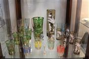 Sale 8151 - Lot 92 - Mary Gregory Style Bohemian Glass Drink Suite with a Green Glass Drink Suite