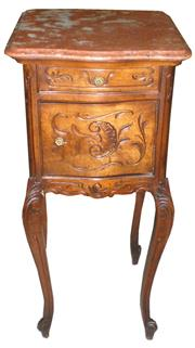 Sale 8258A - Lot 9 - French walnut Louis XV style pot cupboard from the Belle Époque, lined on the inside with marble, RRP $1250, W41.5 x D43 x H91cm