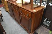 Sale 8299 - Lot 1030 - Dutch Colonial Fruitwood Sideboard with Three Drawers & Doors