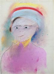 Sale 8410A - Lot 5031 - Anne Hall (1945 - ) - Untitled (Woman with Yellow Hat) 76.5 x 56cm (sheet size)