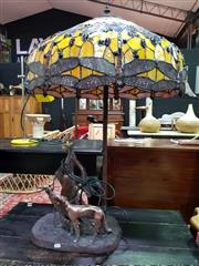 Sale 8462 - Lot 1047 - Large Leadlight Lamp With Lady Holding Dogs