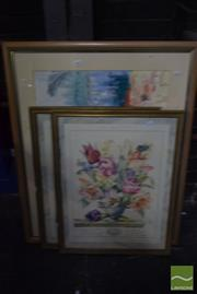 Sale 8530 - Lot 2066 - Maureen Lee Harbour, Framed Watercolour with 2 Framed Prints: Peony& Tulip (3)