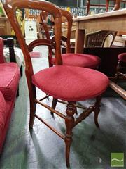Sale 8550 - Lot 1437 - Set of Six Timber Balloon Back Dining Chairs with Upholstered Seats