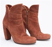 Sale 8640F - Lot 22 - A pair of Coclico, Spain, umber suede ankle boots with block heel, size 36, some wear to front sole.