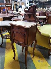 Sale 8617 - Lot 1089 - Early 20th century French Walnut Bedside Cabinet, with shaped back & shelf, a marble top, single drawer & door, raised on cabriole legs