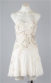 Sale 8685F - Lot 38 - A Lisa Ho embroidered, strapless layered silk dress with godets to hem, size AUS 6