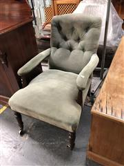 Sale 8817 - Lot 1080 - George IV Mahogany Armchair, upholstered in buttoned velvet, with reeded arms supports & turned legs with castors