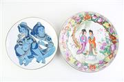 Sale 8835 - Lot 273 - Chinese Plates/Chargers One Featuring Deity (Dia 30cm & 24cm)