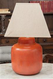 Sale 9060H - Lot 102 - An orange ceramic table lamp with cream tapered shade. Height 60cm