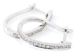 Sale 9140 - Lot 391 - A PAIR OF 18CT WHITE GOLD DIAMOND HOOP EARRINGS; each an hinged hoop set with 15 round brilliant cut diamonds to lever fittings, 30...