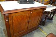Sale 8093 - Lot 1779 - Victorian Mahogany Marble Top Credenza (key in office)