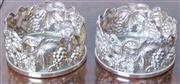 Sale 8800 - Lot 128 - A pair of Whitehill bottle coasters, with fruiting vine decoration, H 6cm