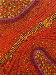 Sale 8647 - Lot 521 - Gracie Napaltjarri Ward (c1972 - ) - Muntati (Grandmothers Country) 100 x 73cm (stretched and ready to hang)