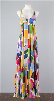 Sale 8685F - Lot 76 - A Lisa Ho silk sundress with abstract geometric prints, a cut-out back with drawstrings and a fluted hem, size AUS 6