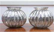 Sale 9005H - Lot 26 - A pair of lobed and silvered glass vases, Height 22cm x Diameter 28cm
