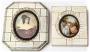 Sale 9083N - Lot 35 - A pair of xylonite framed miniatures of ladies. Height of taller 16 x 14, smaller 8 x 8 cm