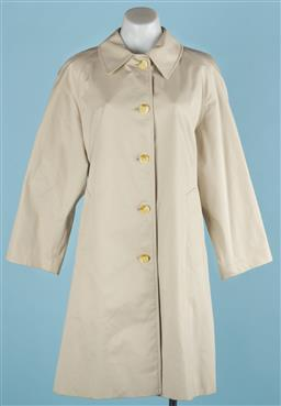 Sale 9091F - Lot 215 - A LADIES BURBERRY COAT; in stone with button up front, (size M/L)