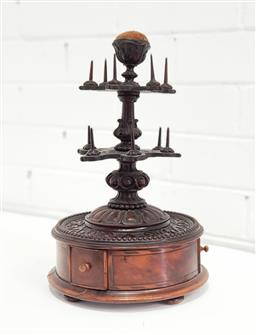 Sale 9142 - Lot 1065 - Victorian Walnut Sewing Spool Stand, with pin cusion top, two shaped tiers with spool spikes, above a pressed design base with three...