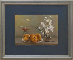 Sale 9140H - Lot 14 - Artist unknown, oil on board, still life depicting fruits, flowers and a beverage, 38cm x 48cm