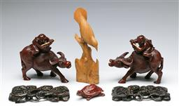 Sale 9164 - Lot 183 - A group of carved Asian timber wares inc bird (H:25cm) and warriors on oxen