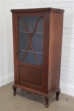Sale 9174 - Lot 1295 - Glass front display cabinet on cabriole legs (h:160 x w:82 x d:35cm)