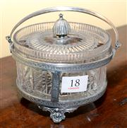 Sale 7997 - Lot 18 - A VICTORIAN SILVER PLATE & CUTLEAD CRYSTAL PRESERVES DISH