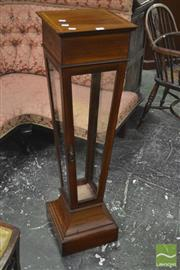 Sale 8345 - Lot 1077 - Good Edwardian Inlaid Satinwood Glazed Pedestal, of inverted form, with glass door