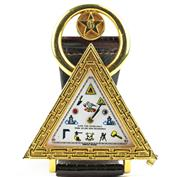 Sale 8402W - Lot 36 - A MASONIC WATCH; triangular gilt case with white dial polychrome symbolic markers on an ETA 17 jewell automatic movement cal. 2650 t...