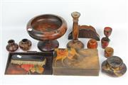 Sale 8419 - Lot 156 - Pokerwork Footed Bowl with Others incl Crumb Tray & Brush