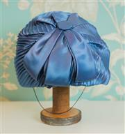 Sale 8448A - Lot 14 - Vintage 1940s blue accordion pleated ladies hat with bow Size: 20cm Condition: very good with satin lining in good condition &...