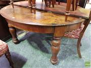 Sale 8520 - Lot 1026 - Mid to Late 19th Century Cedar Extension Dining Table, with single leaf, D ends & on turned baluster legs (original condition, som...