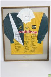 Sale 8546 - Lot 234 - Wallabies 1999 Signed Tri-Nations Australian Rugby Jersey