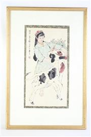 Sale 8827D - Lot 30 - Framed Chinese Artwork Featuring a Girl with Two Goats, Signed, H 67cm, W 45cm