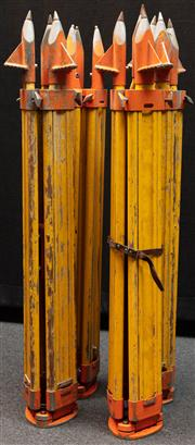 Sale 8984W - Lot 548 - A group of four surveyors tripods in predominantly timber with metal spikes. Approx height 108cm