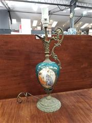 Sale 9014 - Lot 1081 - Ceramic & Brass Ewer Form Table Lamp, with courting couple (H52cm)