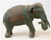 Sale 9070H - Lot 157 - A heavy green patinated Indian elephant, Length approx 26cm