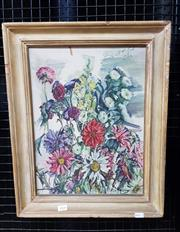 Sale 9077 - Lot 2008 - Artist Unknown Floral Still Life, 1952, oil on board, 50 x 40 cm, signed and dated upper right,